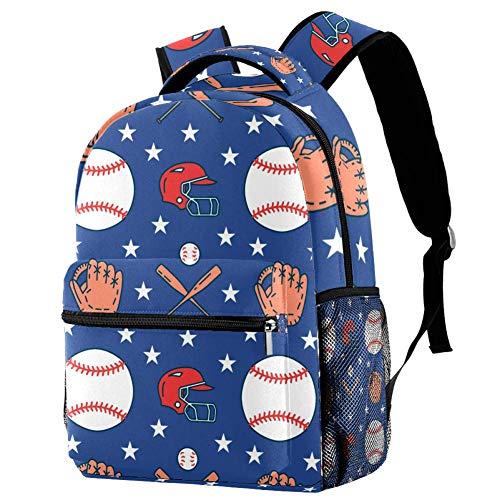 Baseball Softball Sport Game Balls Gloves Bat Helmet Pattern Backpack...