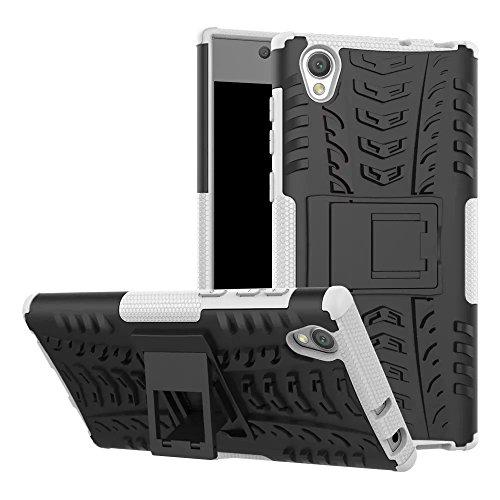 GOGME Funda para Sony Xperia L1, Armadura Híbrida Plegable Case, Blanco