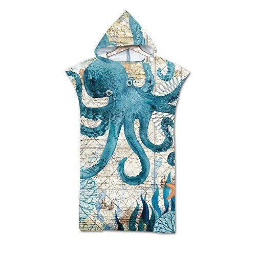 Sticker Superb Ozean Tier Schildkröte Tintenfisch Groß Ändern Robe Handtuch Poncho mit Kapuze, Wal Seepferdchen Schwimmen Neoprenanzug Ändern zum Surfen Strand, Polyester Badetuch (Tintenfisch)