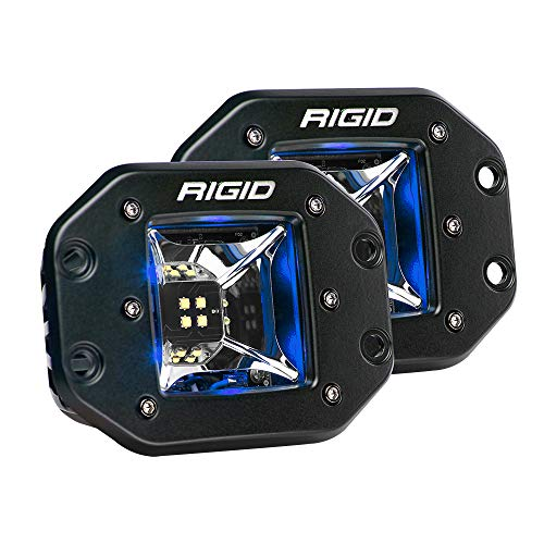 RIGID Industries Radiance Scene Lights - Flush Mount Pair - Black w/Blue LED Backlights