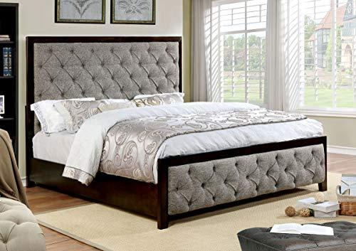 William's Home Furnishing Asterion Bed, Walnut and Warm Gray