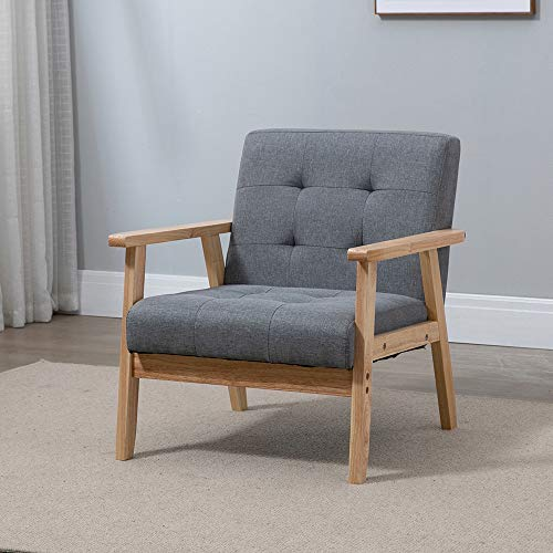 4HOMART Single Linen Fabric Accent Chair Tub Chair Mid-Century Armchair Leisure Lounge Sofa for Living Room Office Upholstered Wooden Fireside Sofa