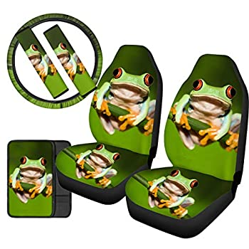 Upetstory Cute Frog Car Seat Covers Sets with Steering Wheel Cover Center Console Cover Pads Auto Front Seat Covers Bucket Saddle Protector Universal Fit Most Car Truck SUV Green