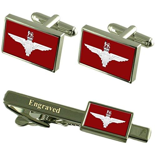 Militar del Regimiento de paracaidistas Inglaterra Bandera Gemelos Grabado Set Clip de Corbata