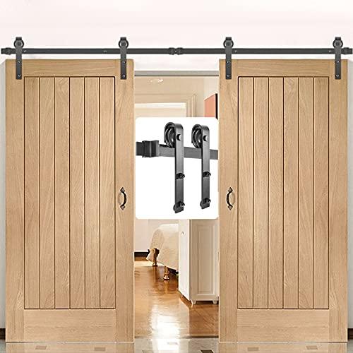 VEVOR Sliding Barn Door Hardware Kit, 11FT Barn Door Kit, 330LBS Load-Bearing Double Barn Door Hardware Kit, Carbon Steel Barn Door Track, Darn Door for 1.37-1.77' Thickness & 5.5FT Wide Door Panel