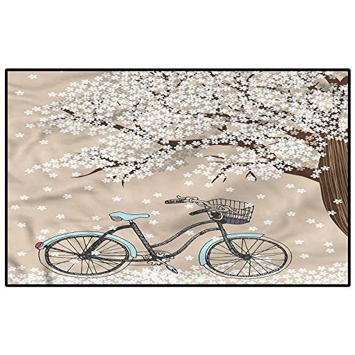 Bicycle Rugs for Living Room Bathroom Rugs and mats Sets Blooming Tree in Spring for Boys Girls Kids Baby College Dorm Living Room Child 4 x 6 Ft