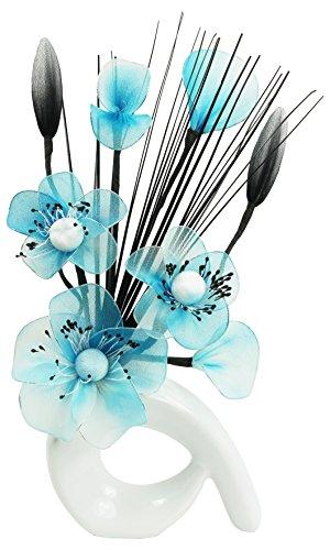 Flourish 793128QH1Vase, mit künstlichen Nylonblumen, kleines Geschenk, 32cm White/Teal Blue