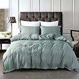 JELLYMONI Green Duvet Cover Set,3-in-1 Luxury Button Bedding Set,Ultra Soft Breathable Hypoallergenic Microfiber, Easy Care,Simple Style,Solid Color Duvet Cover Queen Size(90'x90')(No Comforter)