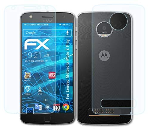 atFolix Schutzfolie kompatibel mit Lenovo Motorola Moto Z Play Folie, ultraklare FX Bildschirmschutzfolie (3er Set)