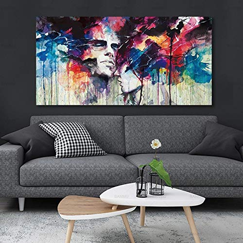 ganlanshu Quadro Senza corniceCanvas Wall Art Picture for Living Room Decoration Abstract Art Poster Character Canvas Frameless couple20X40cm