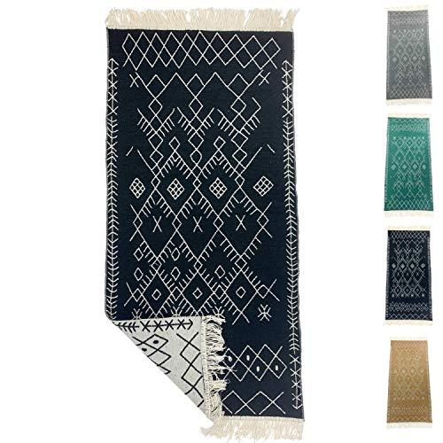 SOLTAKO Petit Kelim Tapis de couloir avec franges et motifs rétro, boho, ethnique, marocain, berbère, lavable, vintage, modèle Agadir (noir/écru) 135 x 65 cm