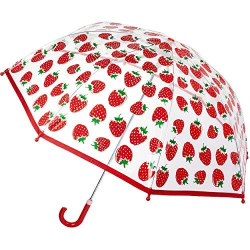 alles-meine.de GmbH Kinderschirm / Regenschirm - Erdbeere - Ø 76 cm - durchsichtig & durchscheinend - transparent - Kinder - Stockschirm - groß mit Griff - Einklemmschutz - Regen..