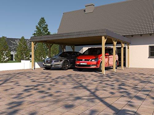 Carport Walmdach SAUERLAND VIII 600 x 600cm mit Schieferblende