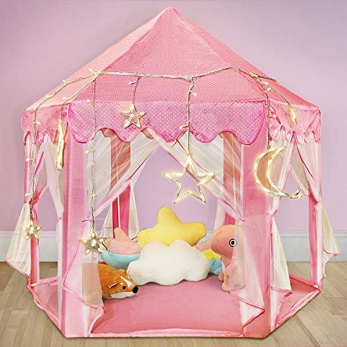TOY Life Princess Castle Tents for Girls - Princess Play Tent with Large Moon, Star Lights , Princess Tiara and Wand -Tents for Kids - Princess Tent for Girls, Kids -Kids Playhouses Indoor & Outdoor