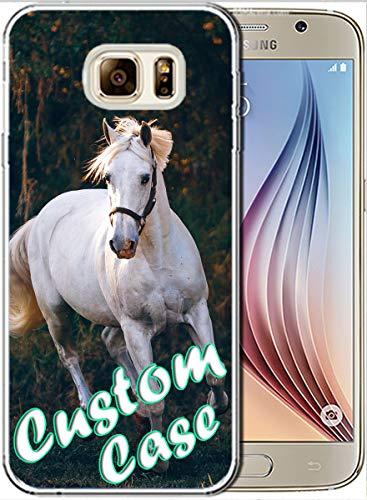 Personaliza tu propia funda de TPU transparente con protector de pantalla, foto personalizada, texto, logo para Samsung Galaxy S6 Edge (transparente)