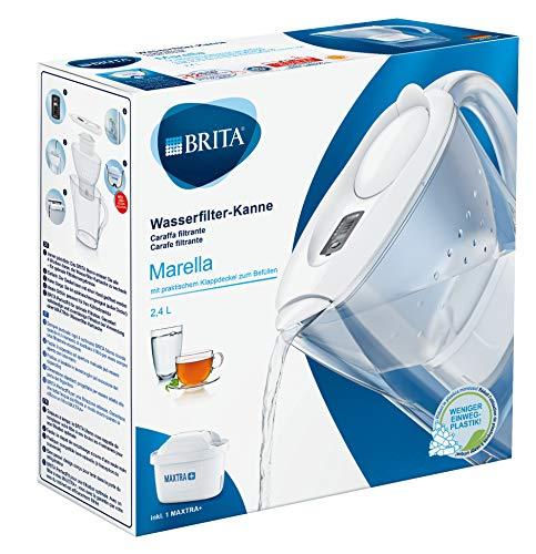 BRITA Wasserfilter Marella weiß inkl. 1 MAXTRA+ Filterkartusche – BRITA Filter zur Reduzierung von Kalk, Chlor & geschmacksstörenden Stoffen im Wasser