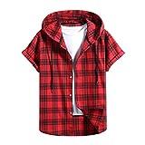 Camisetas de Manga Corta de Primavera Y Verano para Hombre Sudaderas con Capucha Tops A Cuadros Camisas Estampadas Camisetas Informales