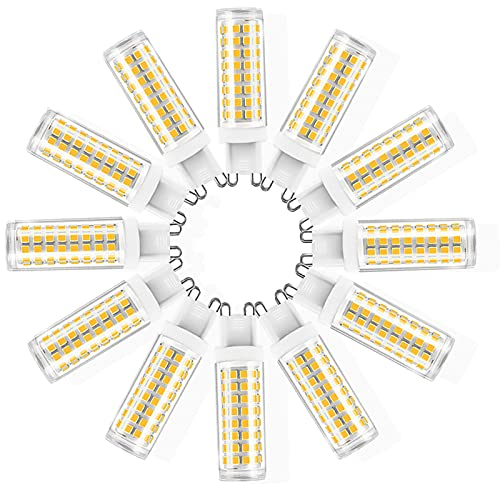 ZJYX G9 Bombilla LED -12W / 1200LM, 120W Bombilla Halógena Equivalente, 360 Grados ángulo de Haz Omni Directional, AC 110-240V, 12 Pack,Warm White 3000k