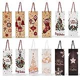12 Bolsas de Regalo de Vino de Navidad Premium| Diseños Festivos, Elegante, Resistente| Bolsa de Botella de Vino para Fiestas De Navidad, Regalos, Regalar.