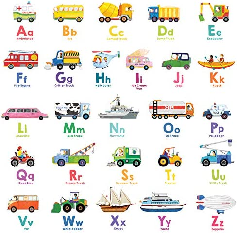 DECOWALL DWL 2005N Transport Alphabet Kids Wall Stickers Wall Decals Peel and Stick Removable product image