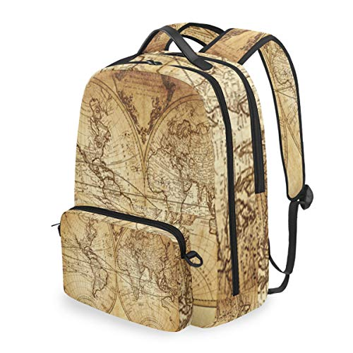 SLHFPX Women/Men Backpack Vintage Retro World Map Bookbag College School Shoulder Bag Daypack Travel Rucksack for Youth