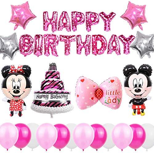 Cumpleaños Decoraciones de Mickey Mouse,Mickey Globos para Fiestas, Artículos de Fiesta de Mickey y Minnie para cumpleaños, fiestas, baby shower. (rosa)