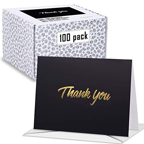 100 Thank You Cards – Black Bulk Note Cards with Gold Foil Embossed Letters – Perfect for Your Wedding, Baby Shower, Business, Graduation, Bridal Shower, Birthday, Engagement