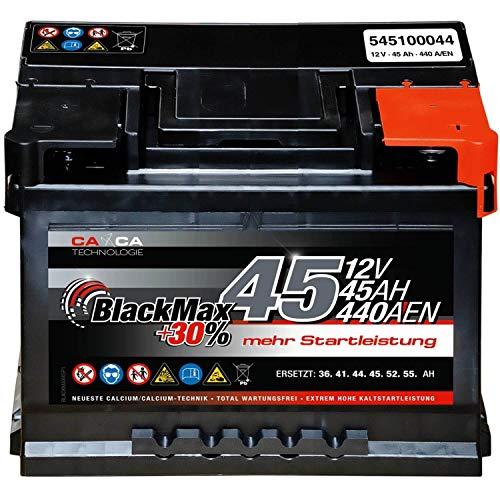 Autobatterie 12V 45Ah 440A/EN BlackMax PKW-Batterie statt 36Ah 41Ah 43Ah 44 Ah 46Ah