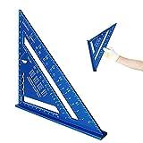 7 Pollici Righello Triangolo In Lega Di Alluminio,Righello Della Lega Di Alluminio,Righello Triangolare per Ingegnere Falegname,Inquadratura,Coperture,Costruzione e Rimodellamento Progetti (blu)