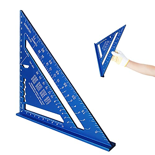 7 Pulgadas Regla Triangular,Escuadra De TríAngulo,TriáNgulo AleacióN De Aluminio,Transportador Cuadrado De Regla Triangular De Aleación De Aluminio,Para Herramienta Regla Medición (azul)