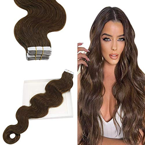 YoungSee 14 Pouces Extension Adhesive Naturel Ondule, Vrai Remy Humain, Skin Weft Tape in Hair Extensions Curly Body Wave - Marron Foncé #4, 20pcs/50g