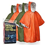 FosPower Emergency Waterproof Rain Poncho (4 Pack) (Retains 90% Body Heat) Reusable Thermal Blanket...