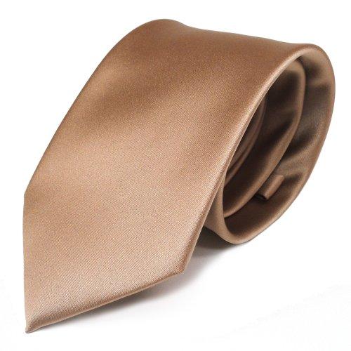 TigerTie Designer Satin Krawatte in gold einfarbig uni