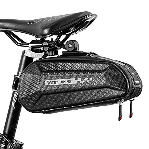 West Biking Alforja para sillín de bicicleta, compacta, gran capacidad y resistente a la lluvia, para bicicleta de montaña, bicicleta y bicicleta de carretera, con tiras reflectantes (negro)