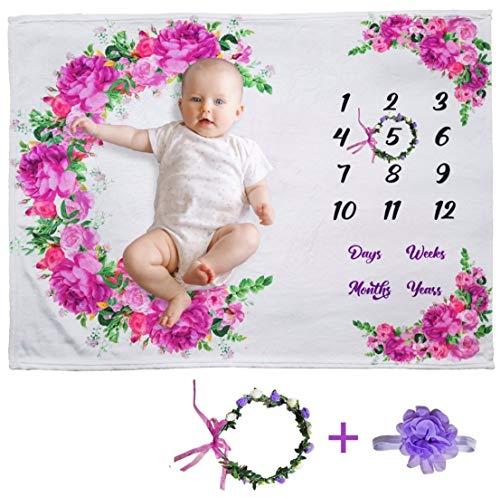 """Your Best Buyz Floral Monthly Baby Milestone Blanket - 51"""" x 40"""" Large Polyester Extra Soft-Photography Backdrop Baby Blanket for Baby Girl Gifts   New Moms, Wrinkle-Free - Bonus Wreath + Headband"""