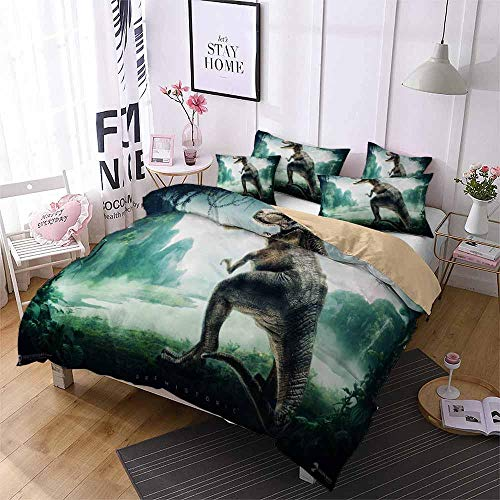 AHJJK Duvet cover set 79 x 79 inchDinosaur Warrior 3D Printed Microfiber Bedding Duvet Cover with 2x Pillowcases & Zipper Closure Quilt Case for Boy Girl Single Double King Bed