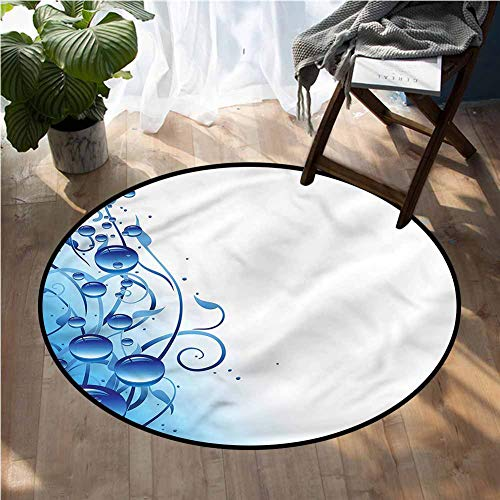 Abstract Round Carpet Water Drops and Curlicues Round Area Rug 2Ft Diameter