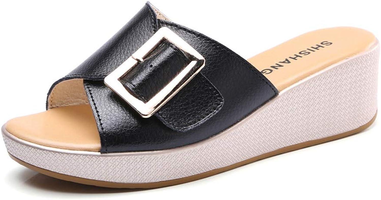 Tragen Einer weiblichen Sandale im Sommer, vielseitiges Leder, bequem, stilvoll, rutschfest, Mitte, Urlaub, Meer, Strand, Einkaufen, Nicht müde Sommersandalen und Hausschuhe