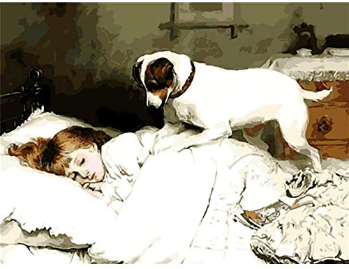DJHYT Peinture numéro Bricolage Peinture numérique Animaux Humains -Wood Frame-(40x50cm)