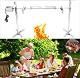 53' Extra Large Electric Rotisserie Kit, Up to 125LB, 20W Motor Automatic Stainless Steel Camping Spit Grill Roaster For Lamb Hog Pig, Height Adjustable