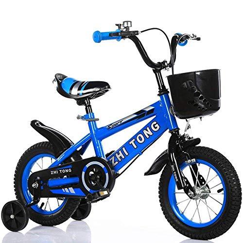 ZXC001 Bicicleta Sencilla para niños, con Rueda Auxiliar para Bicicleta, Bicicleta de Princesa para niño, Creativa, Multifuncional, Longitud de Bicicleta de 88 a 121 cm, Color Azul, tamaño 100 cm