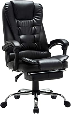 Chair- Leather Office Chair Executive Chair Rotating Lifting Handrail with Footstool Swing Function Computer Napping