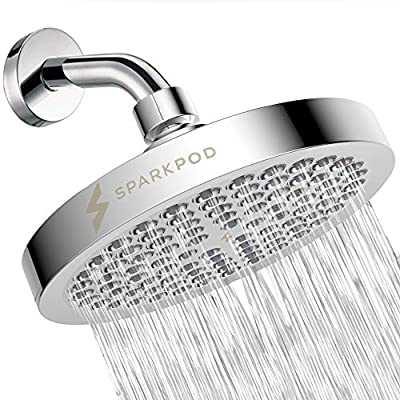 SparkPod Shower Head - California Compliant 1.8 GPM - High Pressure Rain - Luxury Modern Chrome Look - Easy Tool Free Installation - The Perfect Adjustable Replacement For Your Bathroom Shower Heads