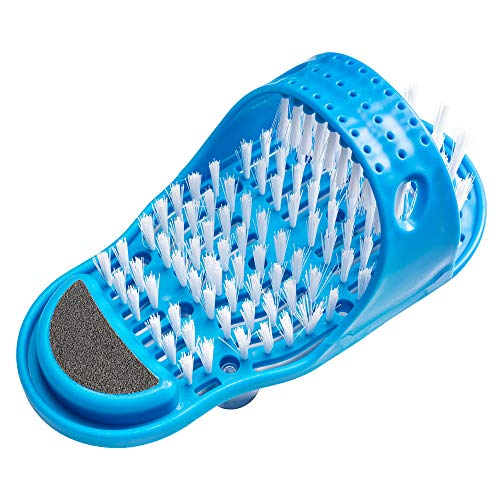 Meidong Foot Scrubber, Foot Scrub Massager Cleaner Dead Skin Exfoliator Callus Remover for Shower Floor with Pumice Stone and Suction Cups