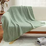 Amélie Home Soft Cozy Chunky Knit Throw Blankets with Ruffled Fringe, Breathable Waffle Weave Knit Blanket for Couch Sofa Bed (Sage Green, 50 x 60'')