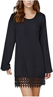 Aunimeifly Ladies Simple Solid Color Long Sleeve Dress Women Casual Round Neck Lace Splice Autumn Tunic Dresses