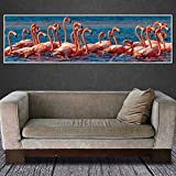ganlanshu Pintura de la Lona Llama pájaro Animal Imagen del Arte Imagen de la Pared decoración del hogar,Pintura sin marco-40X140cm