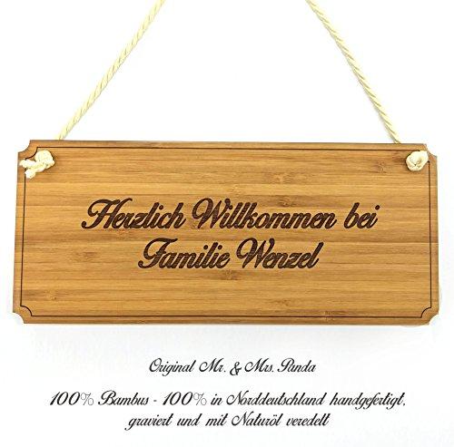 Mr. & Mrs. Panda Türschild Nachname Wenzel Classic Schild - 100% handgefertigt aus Bambus Holz - Anhänger, Geschenk, Nachname, Name, Initialien, Graviert, Gravur, Schlüsselbund, Handmade, exklusiv