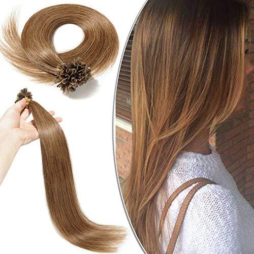 Extensions Echthaar Bondings Haarverlängerung U-Tip 100 Strähnen per Echthaarsträhne 0,5g 40cm(#6 Mittelbraun)
