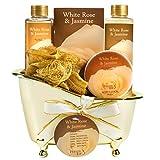 Luxurious White Rose Jasmine Spa Gift Set For Women Displayed In Elegant Gold Tub Includes: Shower Gel, Bubble Bath , Body Lotion, Jasmine Bath Salt and Pouf, Award Winning Bath and Body Gift Set
